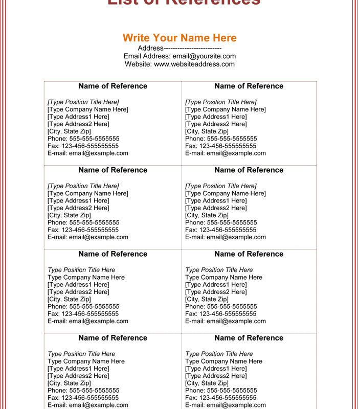 Resume Reference List Template List Templates – Resume Reference List Template