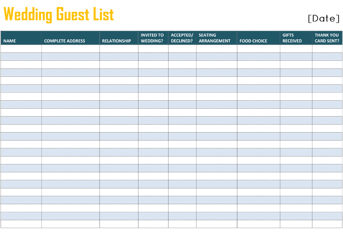 Printable Wedding Guest List Template for Word and Excel – Wedding Guest List Template Free