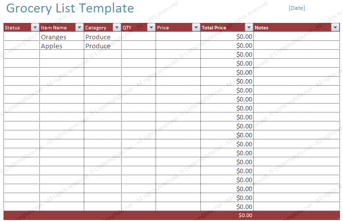 Free Blank Grocery List Template List Templates – Shopping List Template Word