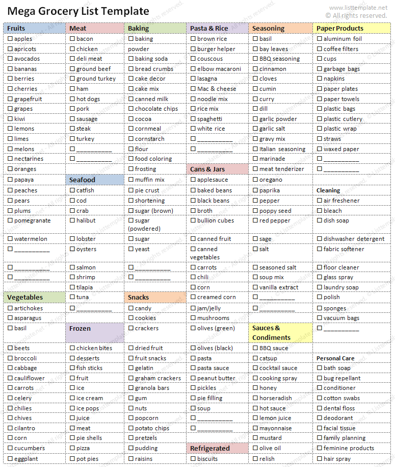 Exceptional Grocery Shopping List Template, For Grocery List Template Word