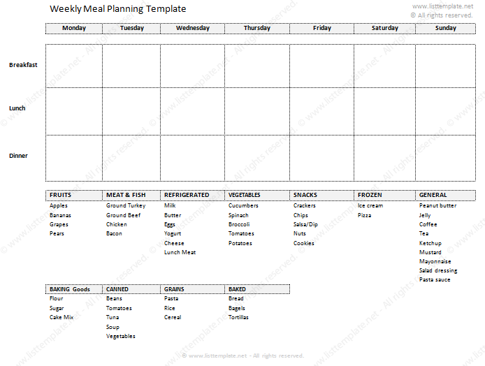 weekly meal planner and grocery shopping list template
